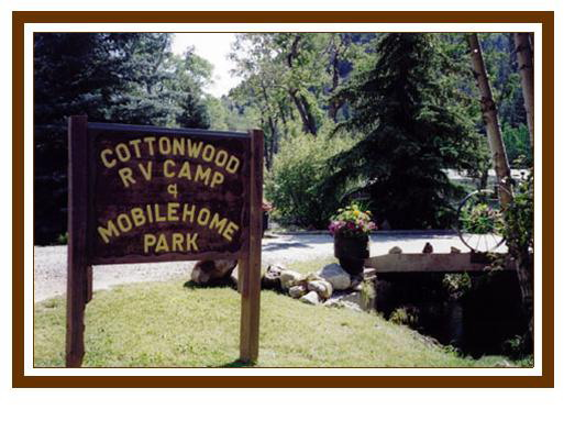 Cottonwood RV Colorado Campground Entrance sign